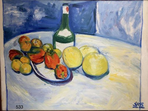 "Jamaica Artist Joe James Still Life with Wine Bottle, oil 24""x32"""