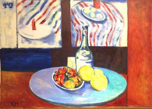 "Jamaican Artist Joe James ""Jamaican Table Top"" oil 24 x 34"""