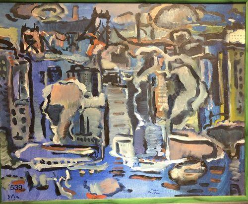 """Glen Pizer American Master Artist """"Harbor New York"""" oil 24 x 30"""""""