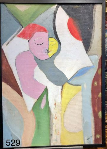 "American Abstract Artist Max Kassler Figures Oil 36 x 24"""