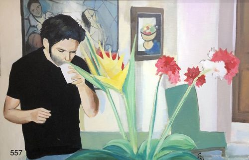 """""""Victor In The Gallery"""" oil by American Artist Paco Lane 24 x 36"""""""