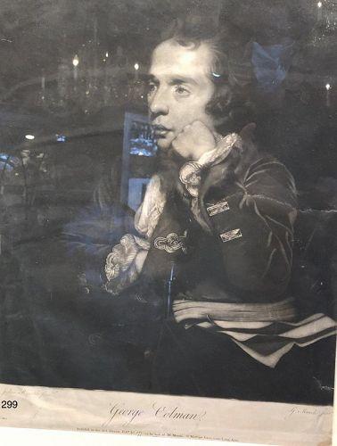 George Colman Engraving by Joshua Reynolds