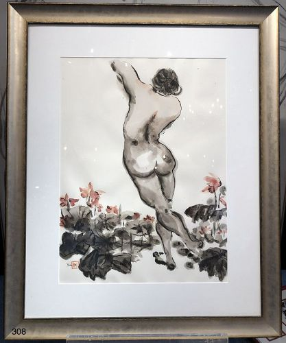 Chinese Ink Painting Nude Figure