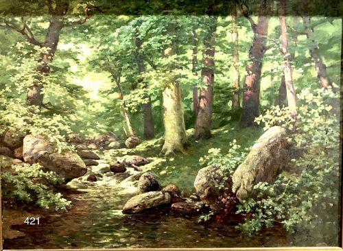 German Artist Gustav Müller, Forest and Brookside oil c.1900