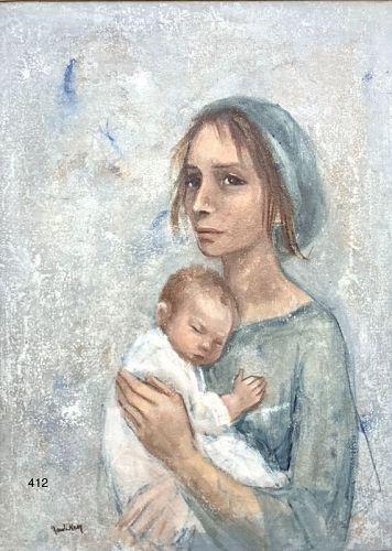 Israel Artist signed Kay, Mother & Child Kibbutz ,