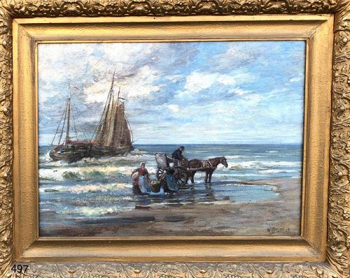 Dutch Seascape signed FRILING Large 19th century oil