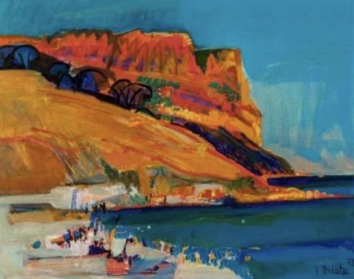 French Artist G. BRIATA- View of Marseille France Oil