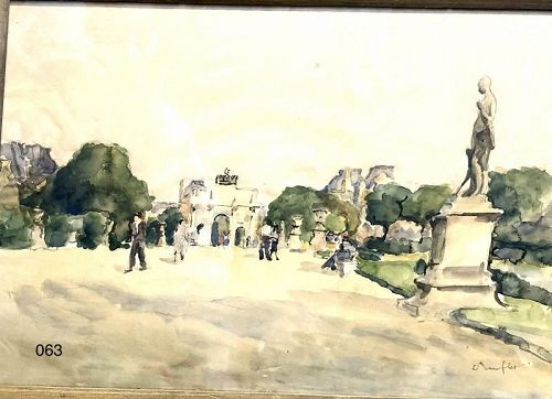 Parisian Scene 1930s Watercolor,Tuileries Garden