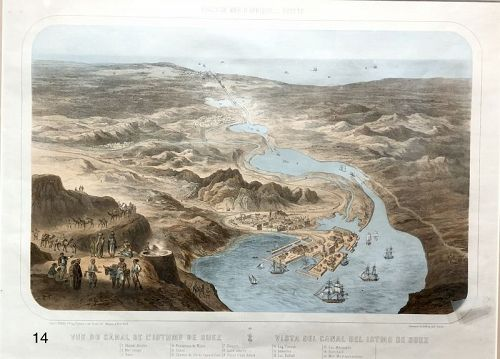Map of Isthmus of Suez, Illustrated 1860