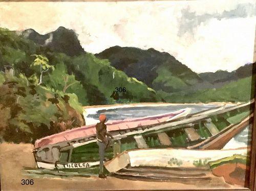 """Artist Bosco Holder """"The Theresa"""" Caribbean Scene Oil 30x36"""""""