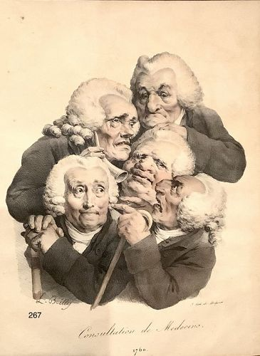 1760 Lithograph by artist L. Boilly, �Les Medecins� 12x9�
