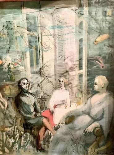 """Modernist Painter Esters, Seated Figures oil on canvas 28 x 23"""""""