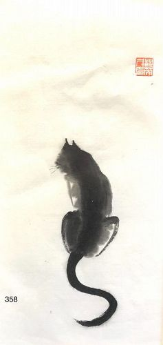 """Original Chinese a Ink Drawing """" Cat with a Very Long Tail"""""""
