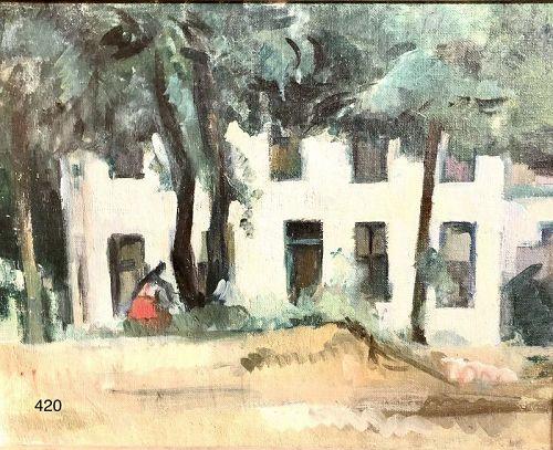 "Artist Manfred Schwartz ""The White Apartment"" Oil 14 x 18"""