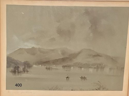 Windermere  from Belle Isle English 1840s Gouache