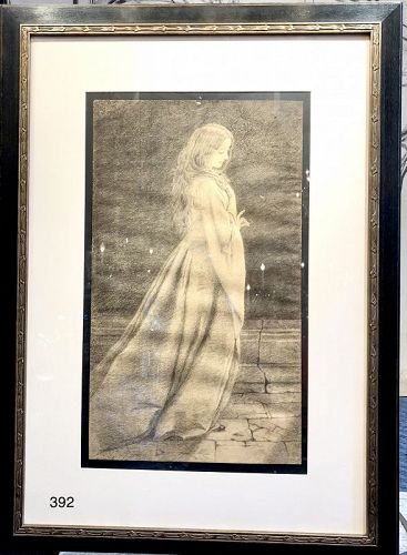 Elizabeth Shippen Green artist , Original Charcoal Drawing on paper