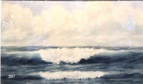 Artist Henry Clay CADY, Original Watercolor ��Ocean Waves� 13 x 22