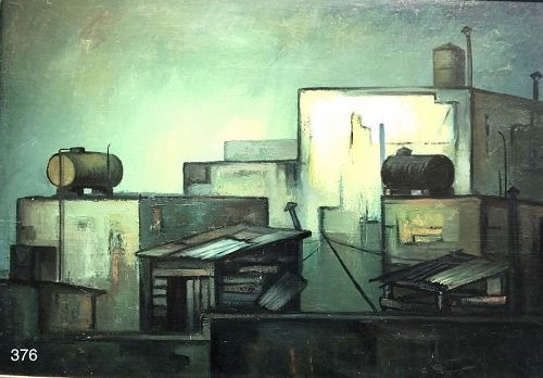 Mexico Artist Ernesto Alcantar �Cubist Rooftops� Oil 28 x 40�
