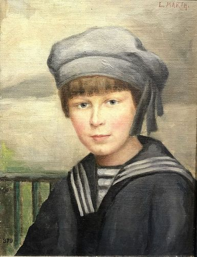 Artist E. MARTH, Young Boy in a Sailor Suit Oil