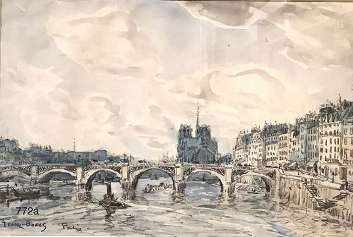 American Master Artist FRANK BOGGS �View of Notre Dame, Pair� c.1900