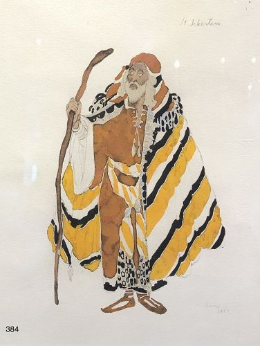 Leon Bakst Ballet Russe Artist �Saint Sebastian� watercolor 11x9�