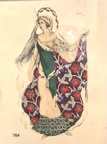 Leon Bakst Ballet Russe Artist �A Woman from Judith� watercolor
