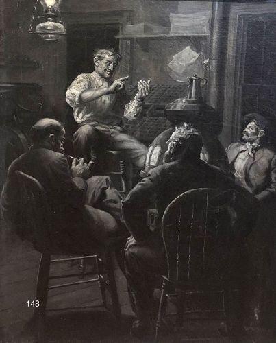 Artist William Seltzer Rice Oil Study for Illustration 30 x 24�