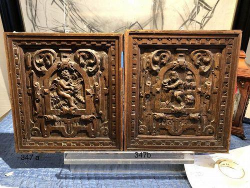 Carved Wood Panels Vita and Mori by John Hirsch