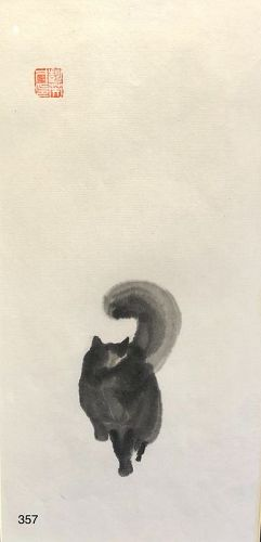 Japanese Cat Ink Drawing