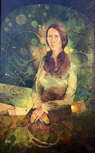 """Artist Yankel Ginsburg American Surrealist Portrait 35 x 21"""""""