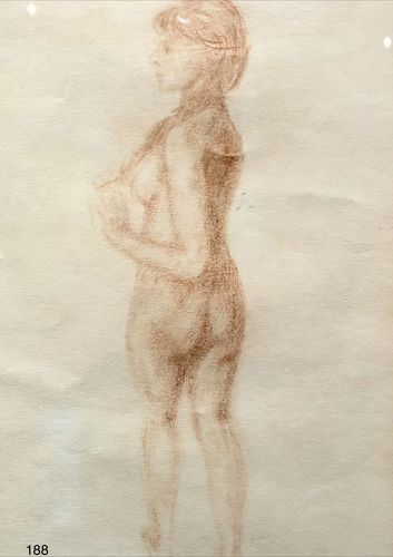 Artist William Zorach Conte Crayon Drawing 10 x 7�