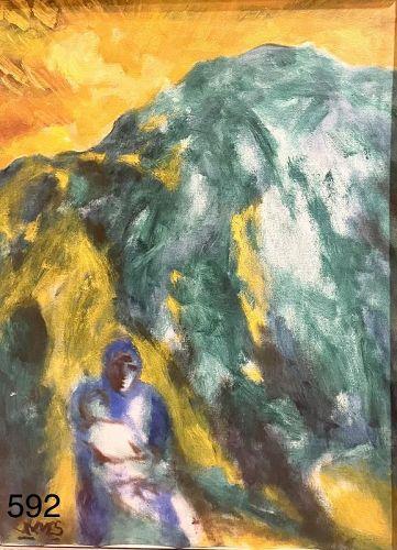 "Jamaica Artist Joe James abstract oil with figures 37 x 29"""