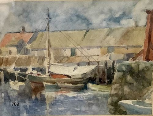 LEANDER M. CHURBUCK (1861-1940) fine watercolor Maine 6x8�