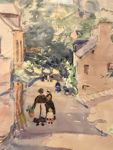 Grace Adelaide Reed, New England Townscape  Watercolor 14x13�