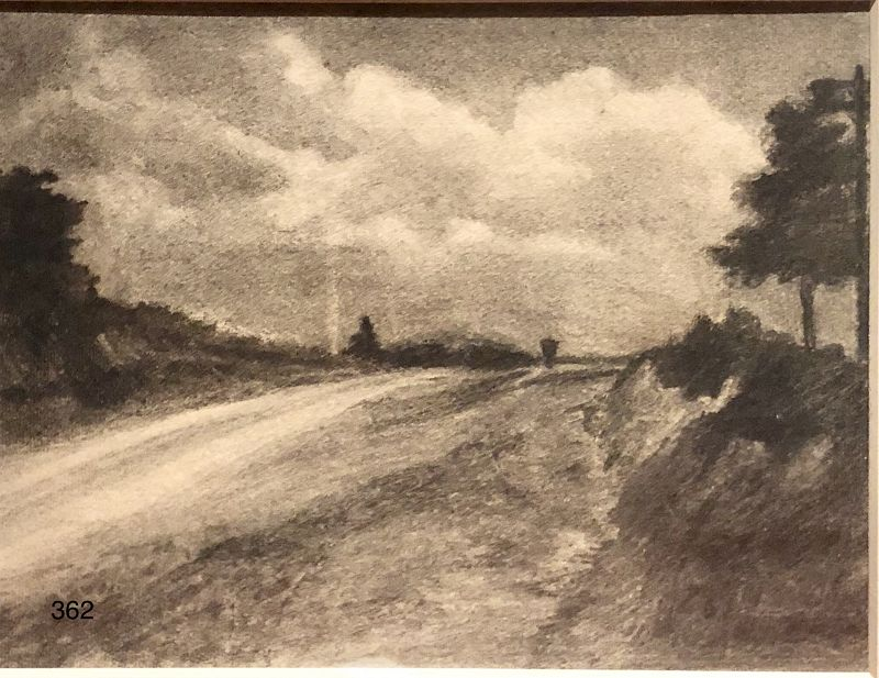 American Landscape Drawing circa 1900 Signed Vicent