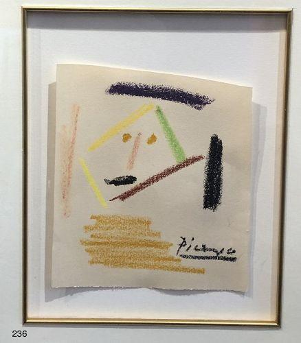 Pablo Picasso Original Pastel Portrait 1960s