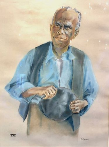 Artist J. Martin Portrait of a Man, Watercolor  Gouache 21 x 16�