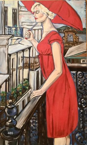 Master Artist Anne LANE Woman on a Balcony New Orleans 30 x 48� Oil