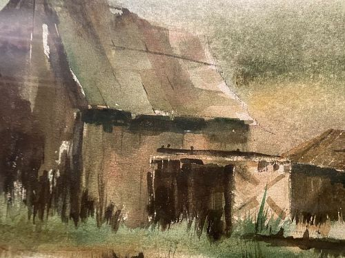 Artist Bill Johnson Barn Farm Landscape watercolor 14x21�