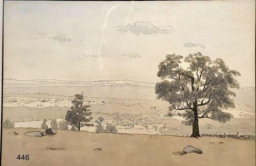 Artist Henry Foote 1896-1986 �The Zen Landscape� watercolor 12 x 18�