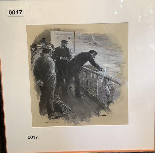 Artist Peter Newell �Maritime Scene� watercolor gouache 11 x 10�