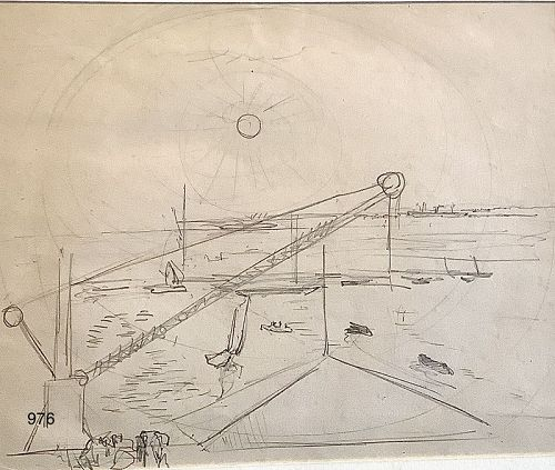 MODERNIST DRAWING BY Arthur Beecher Carles 1882-1952 6x8� Harbor