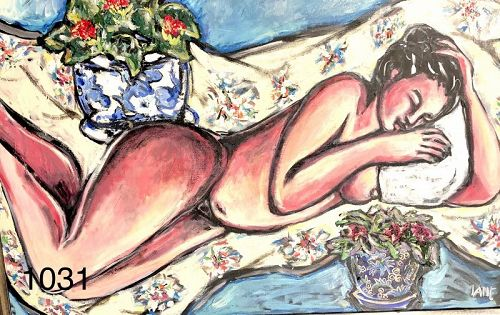 Sleeping Nude with Flowers by contemporary American artist Anne Lane