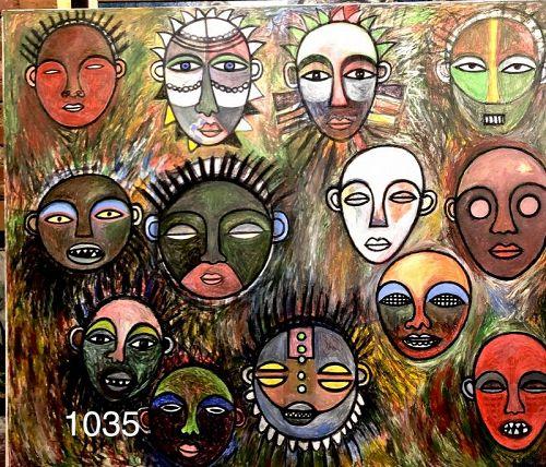 Abstract African Masks by Ivory Coast artist Ephrem Kouakou