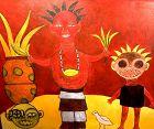 Red Figures with Palms by Ivory Coast artist Ephrem Kouakou