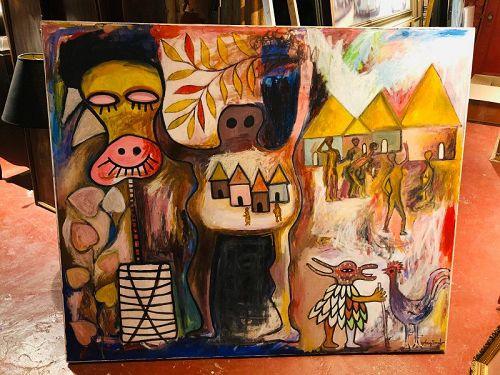Ivory Coast Artist Ephrem Kouakou �Village Dream� Oil 50x60�