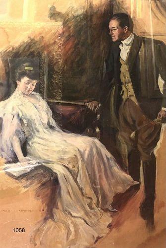 Alonzo Myron Kimball American Master Victorian Couple Gouache 34x23�