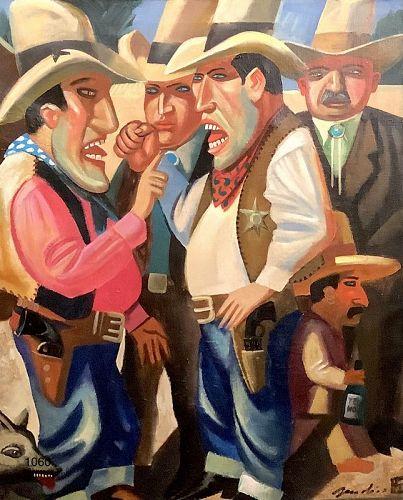 Boris Zherdin,Belorussian Artist �Cowboys� b.1950 30x24�