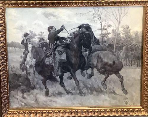 1081artist William TREGO Duel of Union versus Calgary 1880 Oil 15.5x18