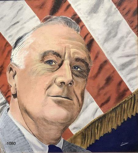 Portrait of President Franklin Delano Roosevelt,Signed Silvio, Oil